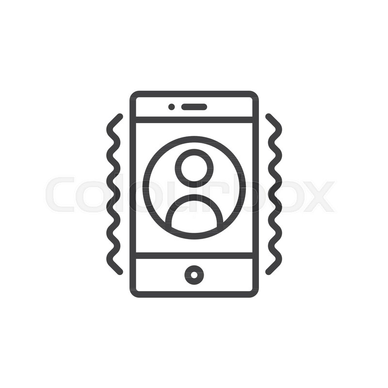 Smartphone with incoming call on display line icon, outline vector ...