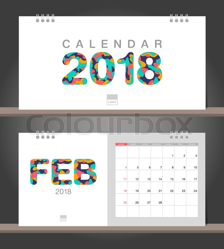 February 2018 Calendar Desk Calendar Modern Design Template With