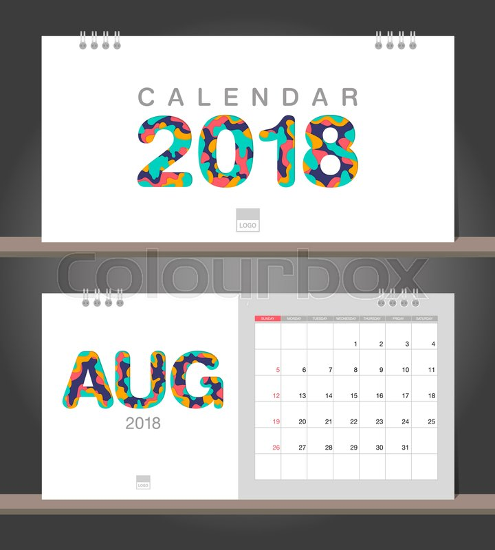 august 2018 calendar desk calendar modern design template with paper cut styles week starts on sunday vector illustration stock vector colourbox
