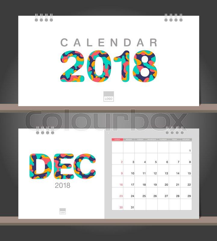 December 2018 Calendar Desk Calendar Modern Design Template With