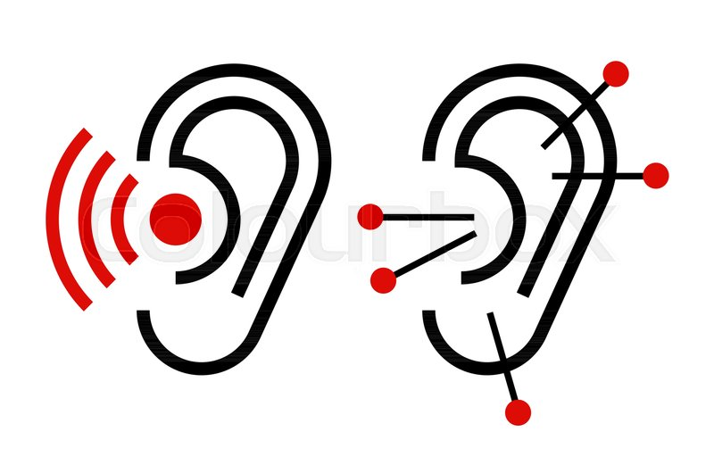 Ear Acupuncture And Hearing Aid Icon Hearing Symbol Isolated On
