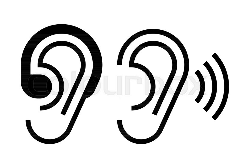 Hearing Aid And Ear Icon Hearing Symbol Isolated On White