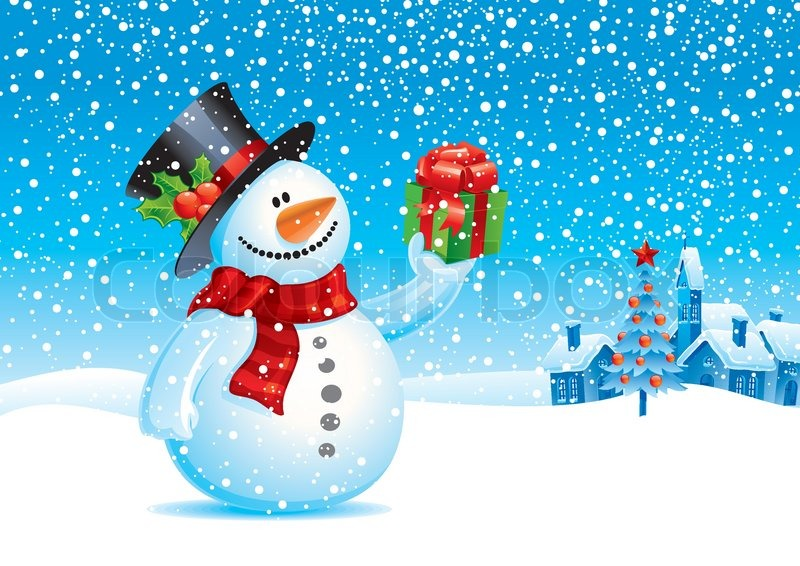 Smiling snowman with gift - vector christmas illustration ...