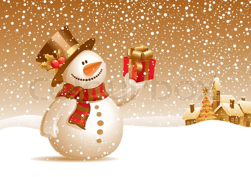 Smiling snowman with gift on a christmas landscape  vector