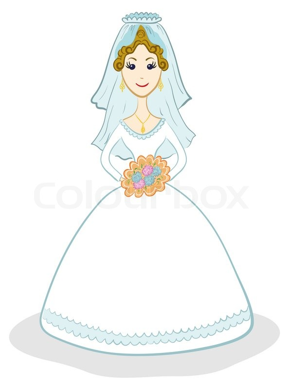 Cartoon The Bride In Wedding Dress With A Bouquet Of