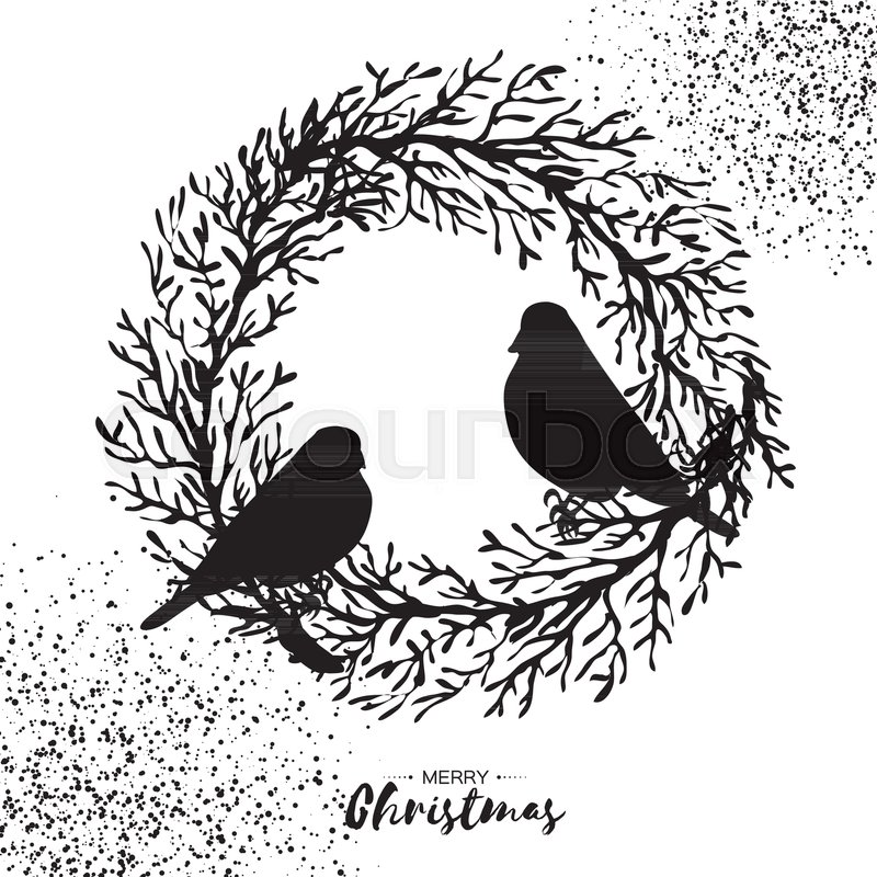 Christmas Wreath Silhouette Vector.Black Christmas Wreath With Bullfinch Stock Vector