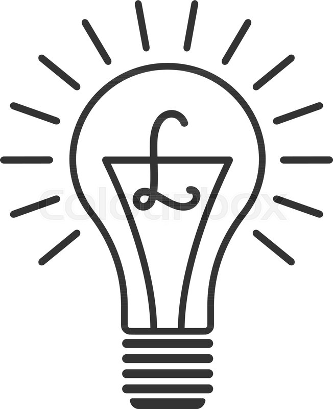 Black Outline Vector Lightbulb With English Pound Simple Linear