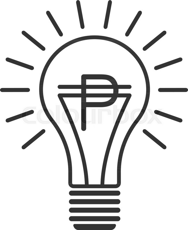 Black Outline Vector Lightbulb With Peso Simple Linear Business