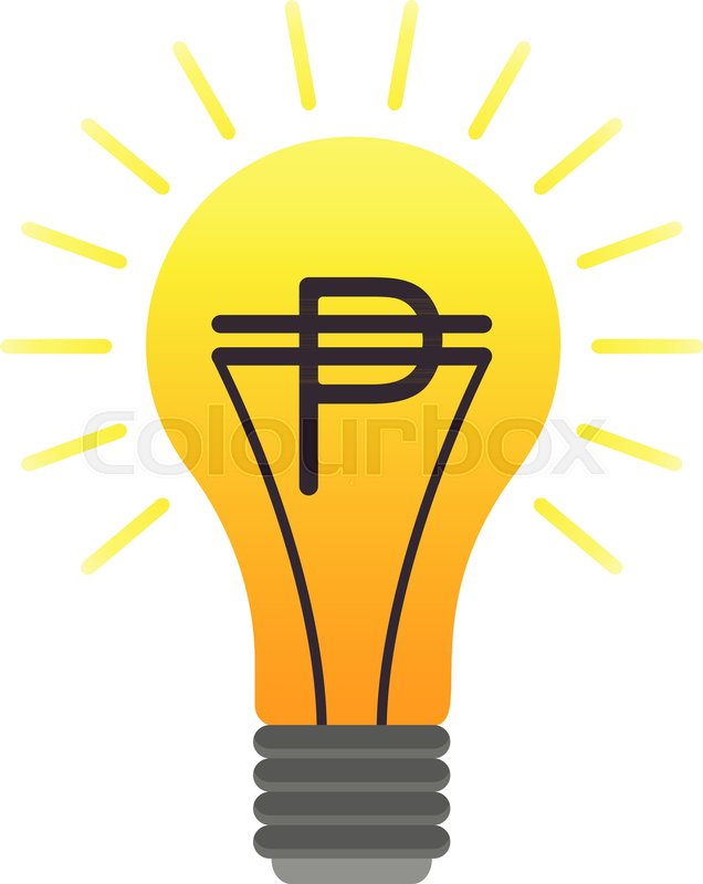 Colorful Vector Lightbulb With Peso Business Idea Flat Finance