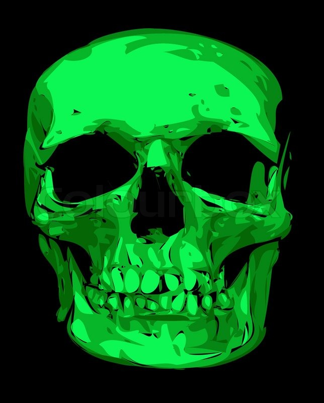human skull in green color isolated on the black background stock vector colourbox