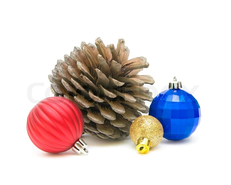 4f104d4d0cd9 A large pine cone and Christmas toys ... | Stock image | Colourbox