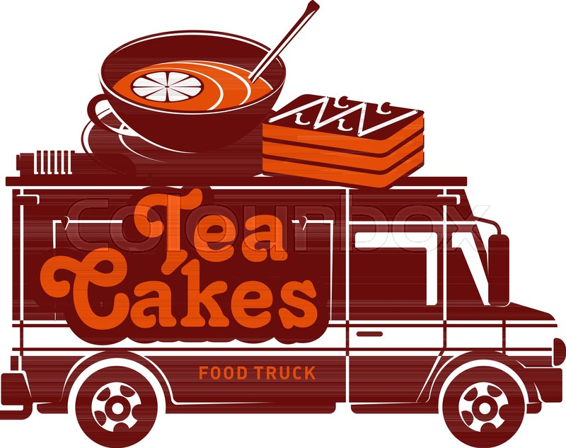Food Truck Tea And Cakes Logo Vector Illustration Vintage Style Badges Labels Design Concept For Confectionery Delivery Service Vehicles