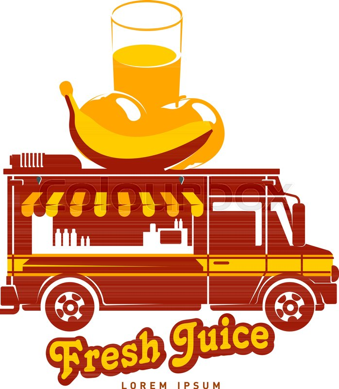 Food Truck Fresh Juice Logo Vector Illustration Vintage Style Badges And Labels Design Concept For Confectionery Delivery Service Vehicles