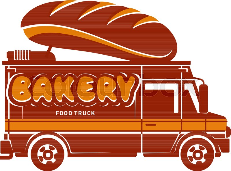 Food Truck Bakery And Hot Bread Logo Vector Illustration Vintage Style Badges Labels Design Concept For Confectionery Delivery Service
