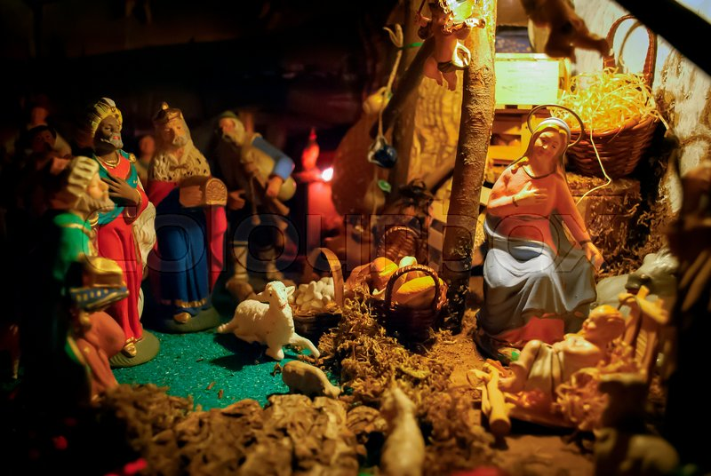 christmas manger scene with figurines including jesus mary joseph sheep and magi focus on mary stock photo colourbox