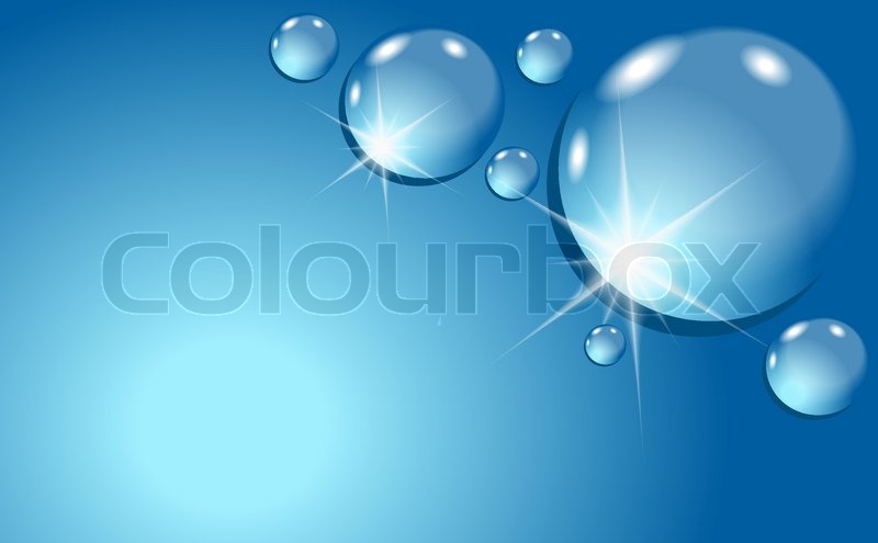nice water drops background in the blue color stock vector colourbox