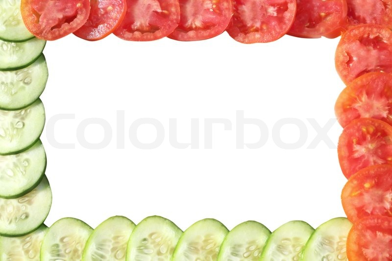 Vegetable frame made of cucumber and tomato | Stock Photo | Colourbox
