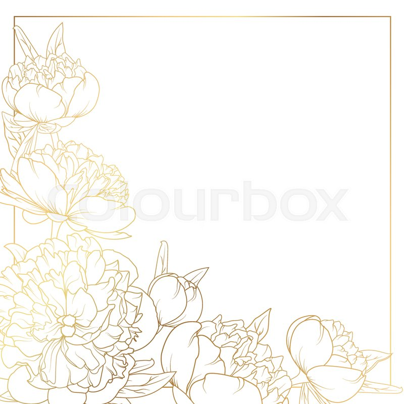 Border Frame With Decorated Corner Bright Shiny Golden Gradient Light Reflection On White Background Wedding Marriage Invitation Card Element Template