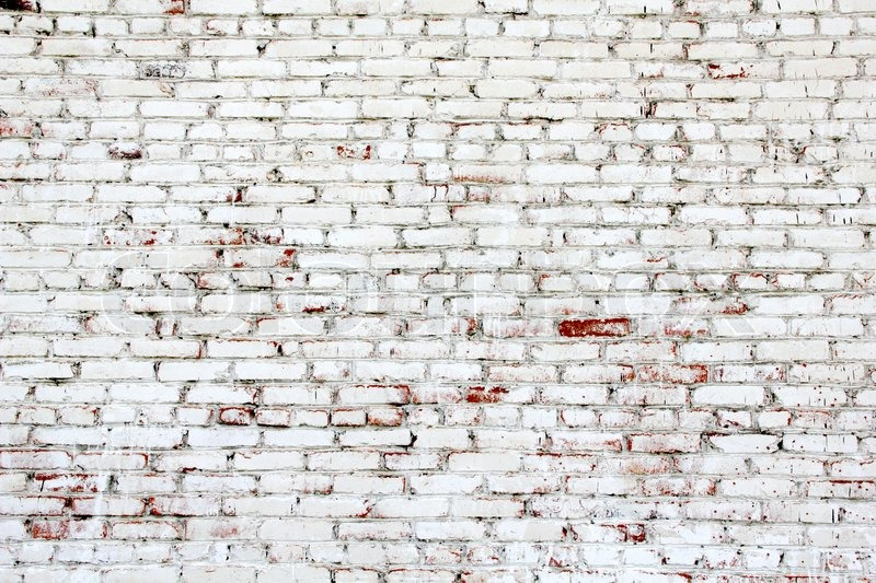Old brick wall with white and red bricks | Stock Photo | Colourbox