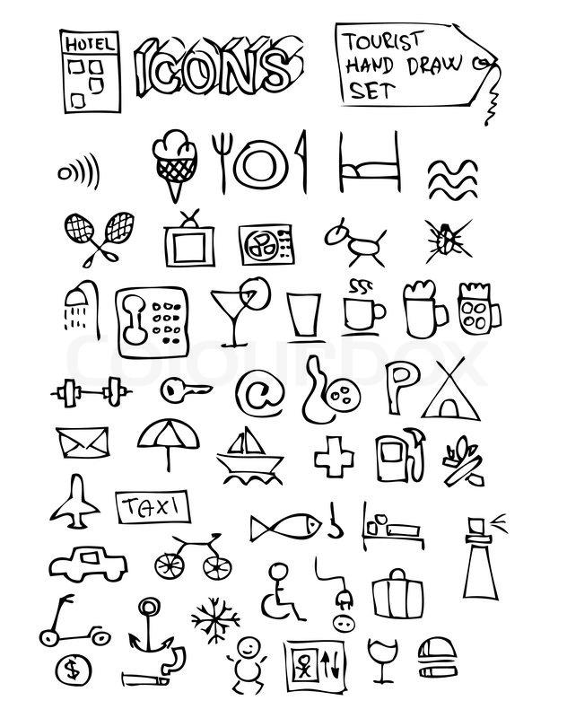 Hand Drawn Hotel Symbols Isolated On The White Background Stock