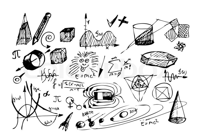 Hand Drawn Math And Physic Symbols Isolated On The White Background