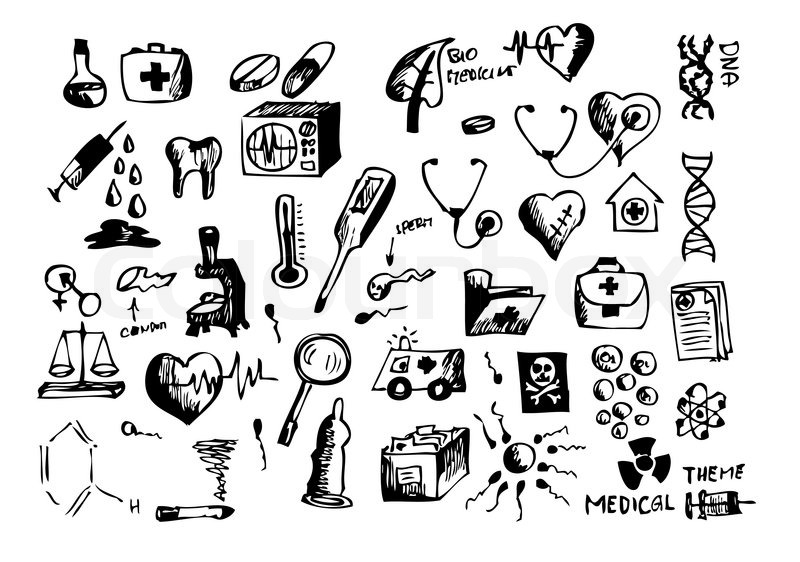 Hand Drawn Medical Symbols Isolated On The White Background Stock
