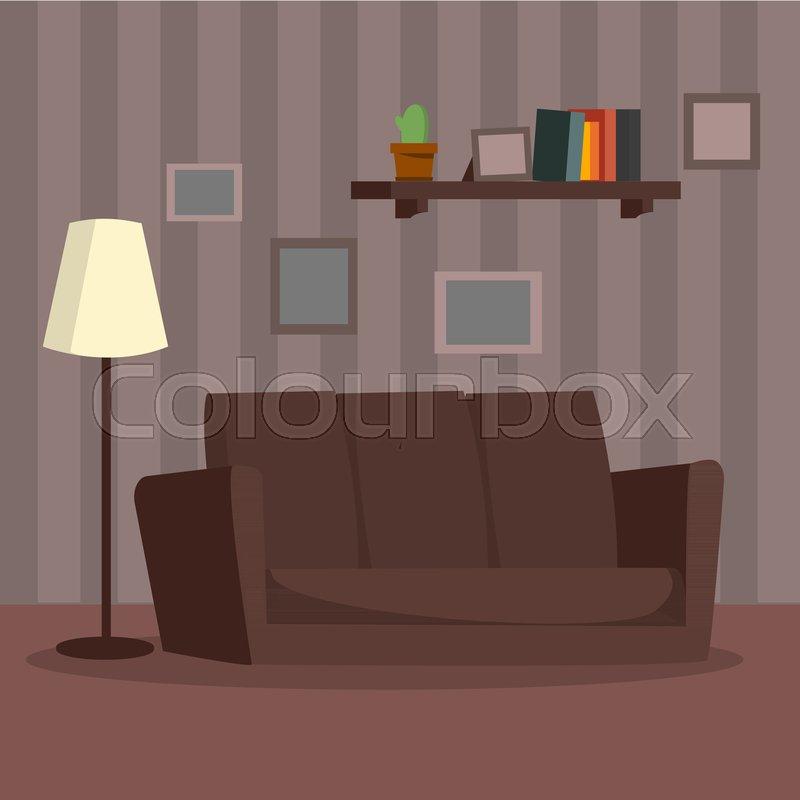 Cartoon Living Room: Home Interior Vector. Cartoon Flat Classic Room Interior