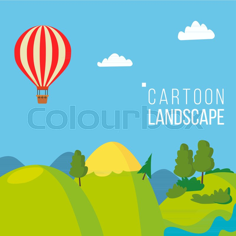 Cartoon Landscape Background Vector. Spring, Summer Season Meadow Landscape. Tree, Green Field, Clouds. Cartoon Flat Illustration, vector