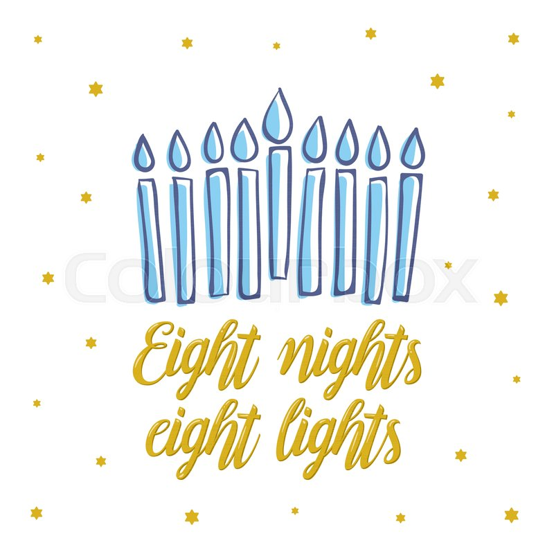 Happy hanukkah eight nights eight lights gold lettering jewish jewish holiday elegant greeting card template with menorah flyer poster banner party invitation design vector illustration vector m4hsunfo