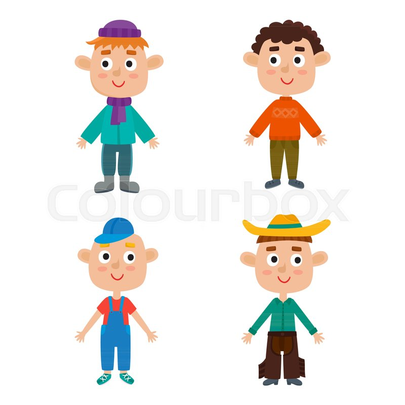 Young European Boys Body Template Stock Vector Colourbox