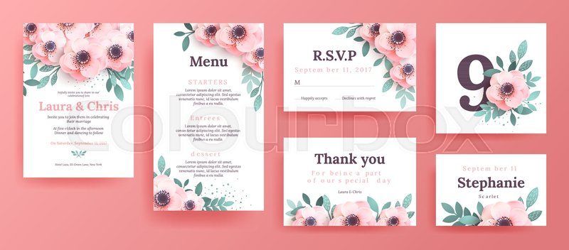 Gentle invitations for a wedding with pink flowers design remember gentle invitations for a wedding with pink flowers design remember the date with the place for the text menu template boarding cards invitation cards mightylinksfo