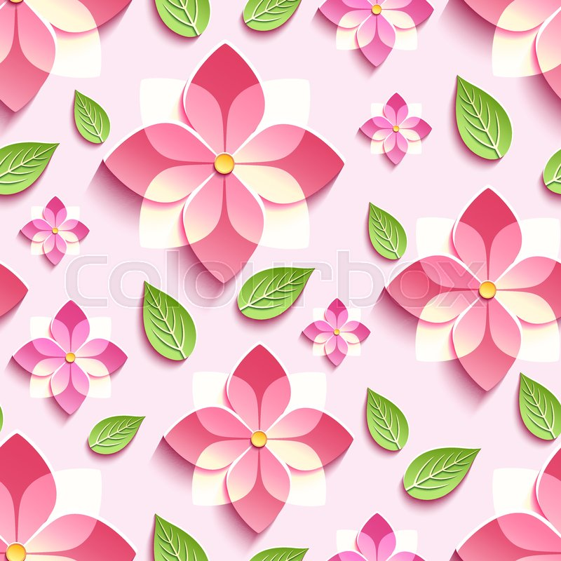 Stylish Modern Floral Wallpaper With Flower And Green Leaf Vector Illustration