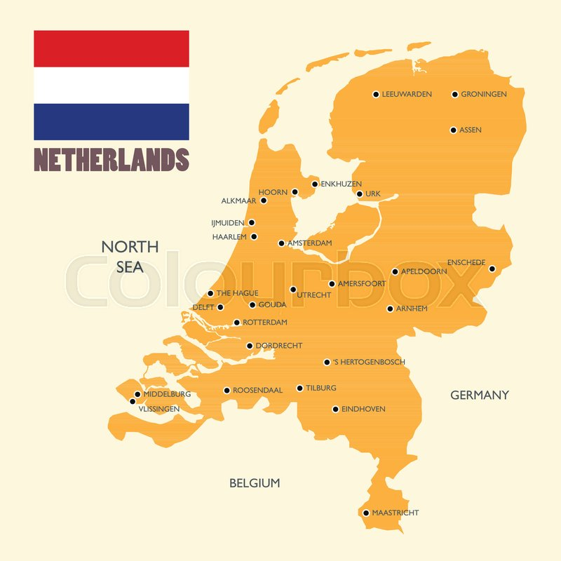 Netherlands map with english label Vector illustration Stock