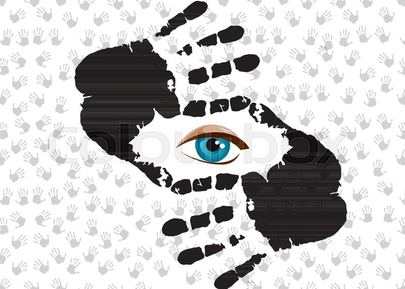 Blue humans eye looking through hand cropping frame. Nice frame made ...