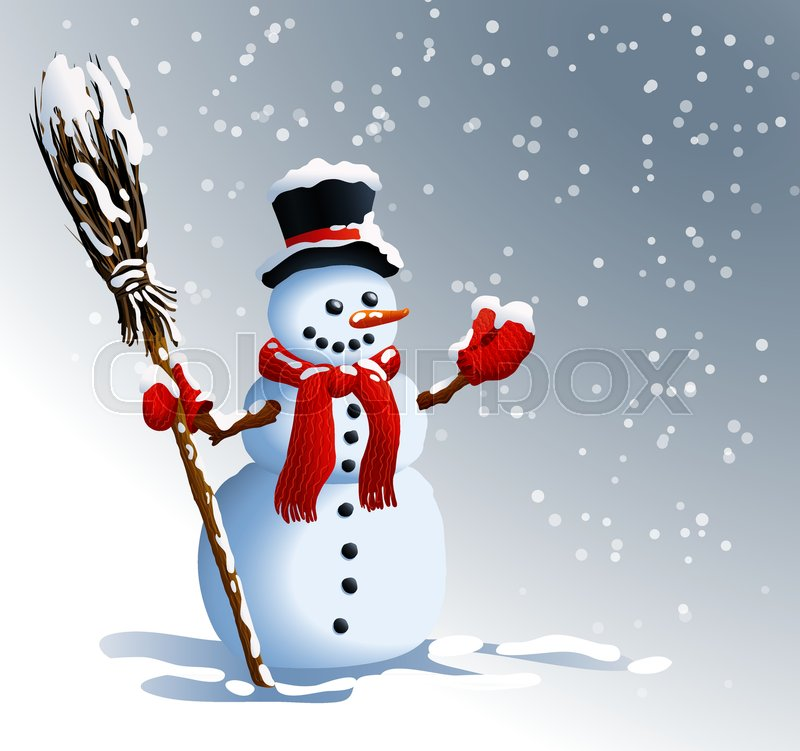 a0223a0515552 Snowman. Winter background. Vector illustrations