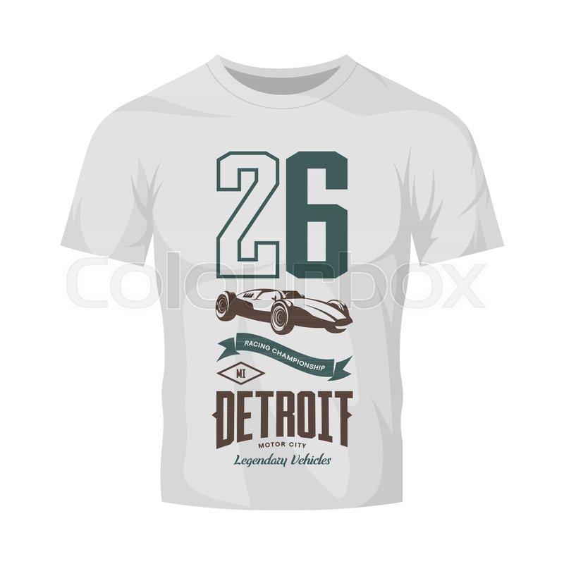 vintage sport vehicle vector logo isolated on white t shirt mock up