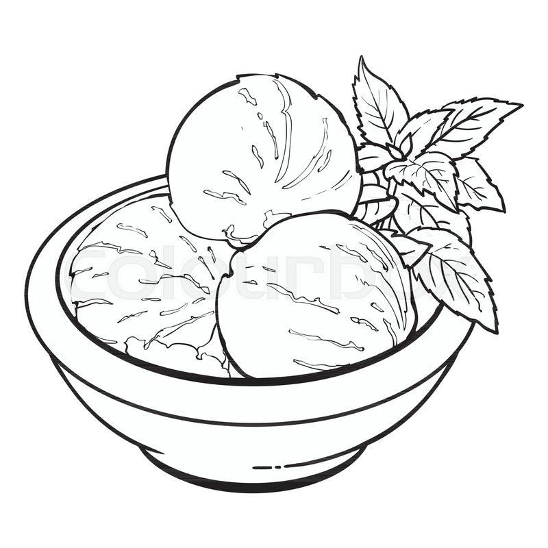 Hand Drawn Black And White Contour Bowl Of Matcha Tea Ice Cream Scoops Sketch Vector Illustration Isolated On Background