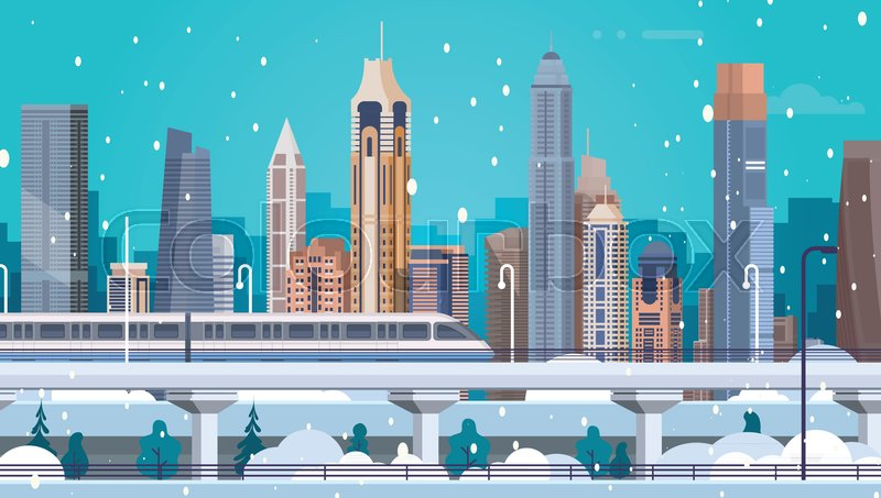 winter city landscape buildings in snow merry christmas and happy new year background flat vector illustration stock vector colourbox