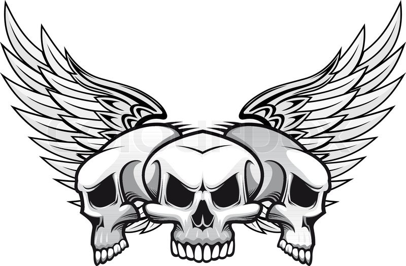 Three Danger Skulls With Wings For Tattoo Or Mascot Design Stock