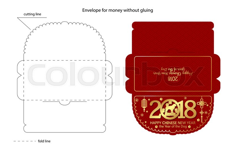 chinese new year red envelope flat icon vector illustration red