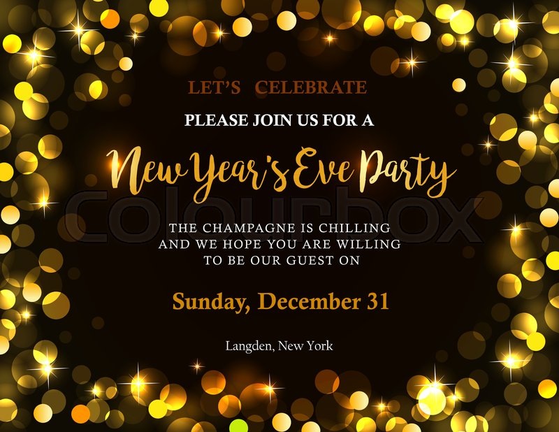 new years party invitation with back golden lights and