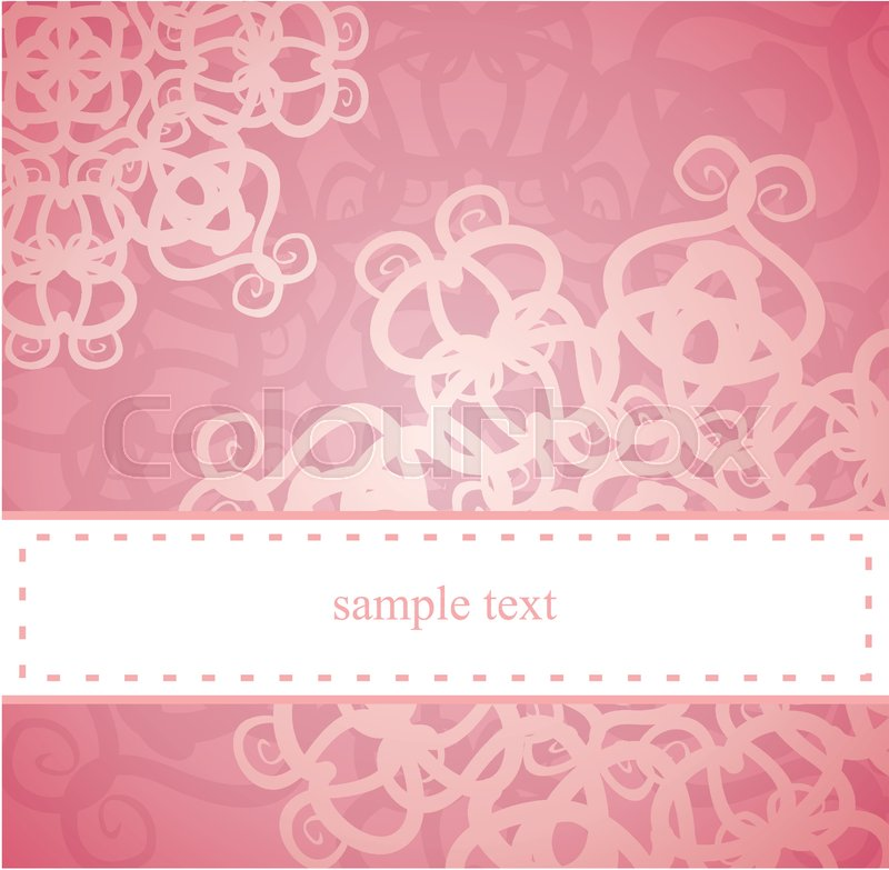 Sweet Pink Card Or Invitation For Party Birthday Baby Shower With White Classic Elegant Floral Lace Cute Background Space To Put Your Own