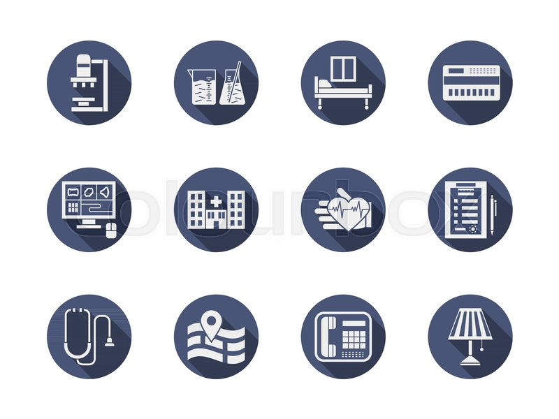 White Glyph Symbols Of Hospital Services Medical Research