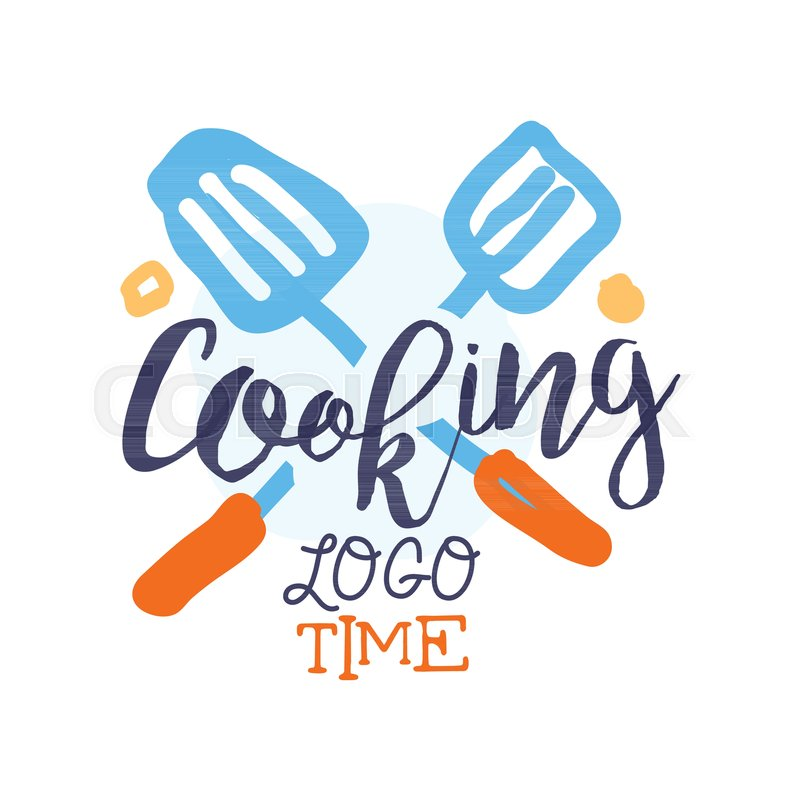 Colorful Badge Or Label Design For Cooking Food Hand Drawn Text With Crossed Scapula Logo Culinary School Club Studio Home Kitchen