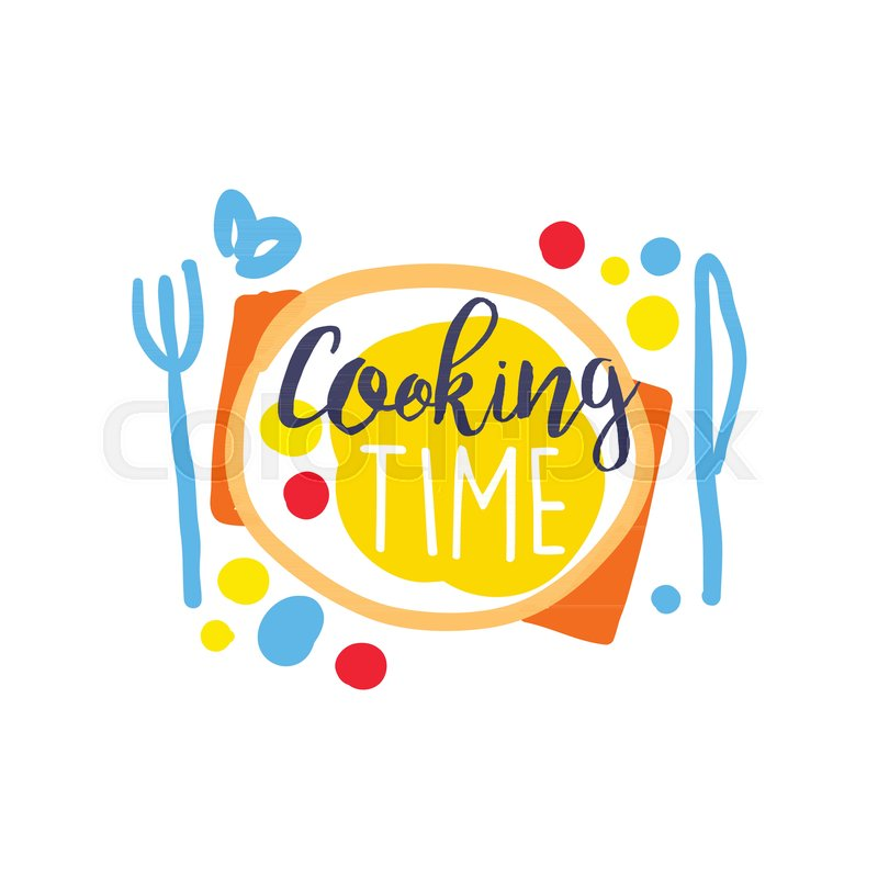 Colorful Hand Drawn Badge Or Label Design For Cooking Food Time Lettering On Plate With Fork And Knife Logo Club Culinary School