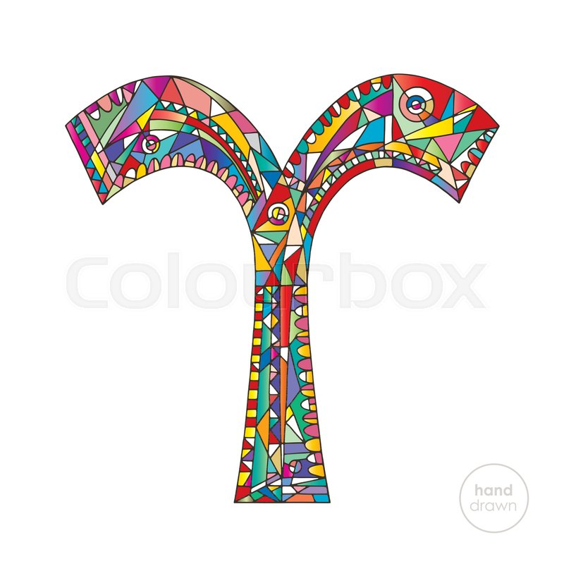 Aries Zodiac Sign Horoscope Vector Illustration Astrological Hand