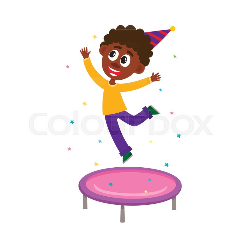 Having Fun At Birthday Party Cartoon Vector Illustration Isolated On White Background Funny Black African American Boy Kid