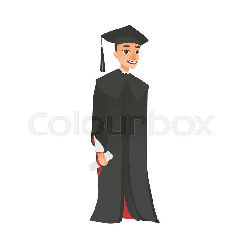 Vector flat cartoon male college, university happy graduate ...