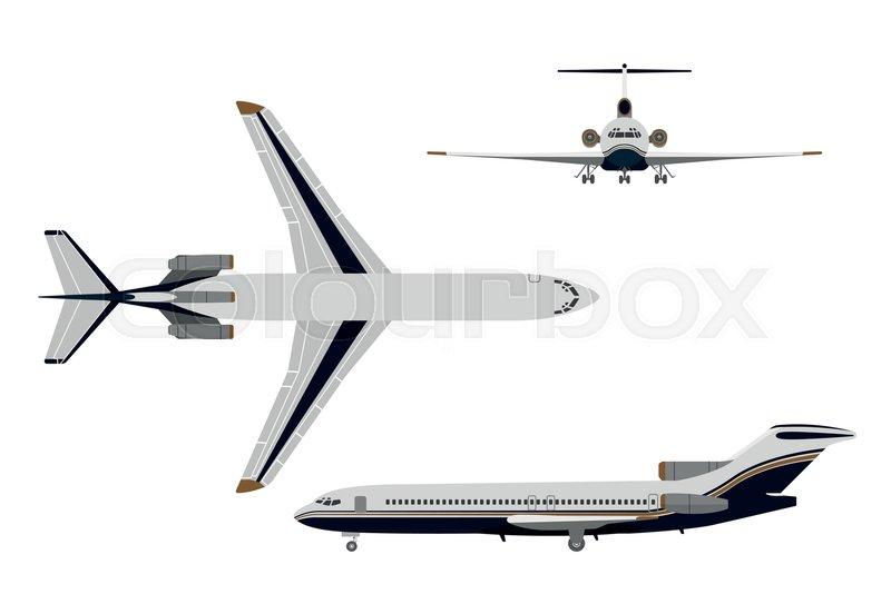 Drawing Plane In A Flat Style On White Background Top View Front Side Vector Illustration