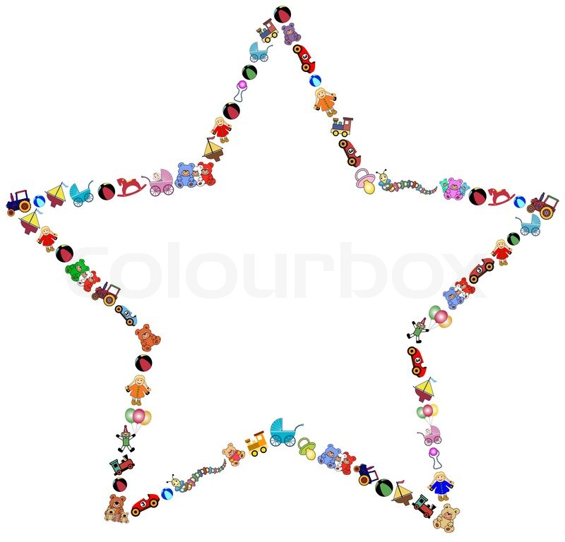 Star Border With Colorful Toys Stock Vector Colourbox